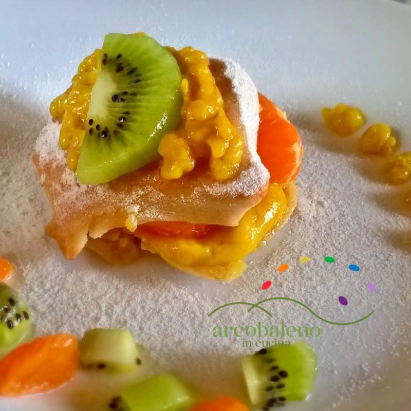 Pasta Sfoglia VEGANA versione Dolce con crema Vegana, Kiwi e Mandarino