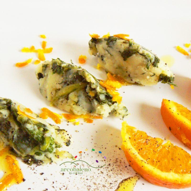 Quenelles di Bieta e Patate speziate alla Buccia di Arancia