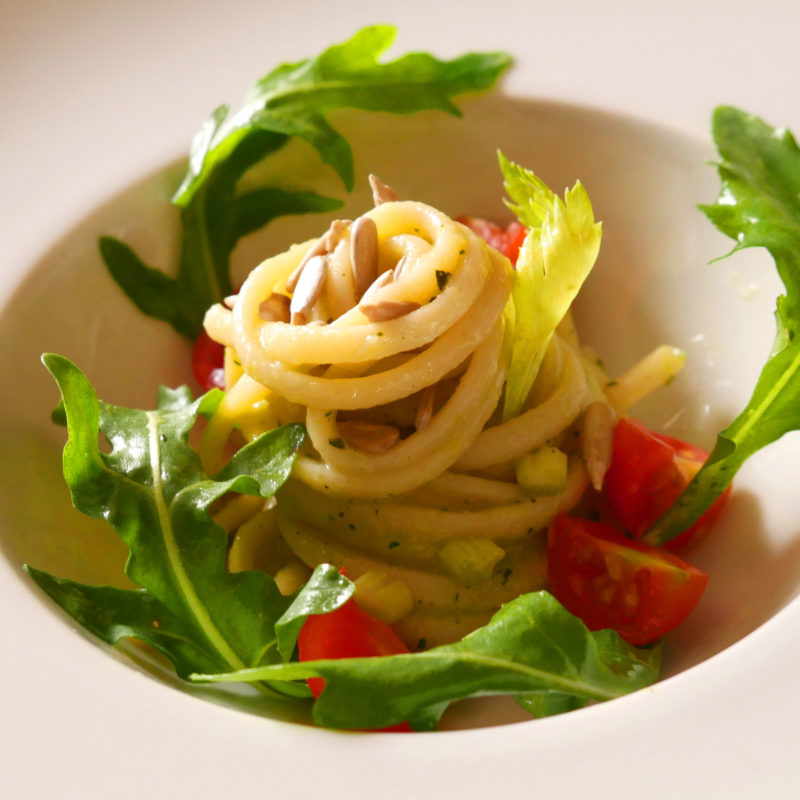 CELERY PESTO SPAGHETTI WITH SUNFLOWER SEEDS and bean sprouts
