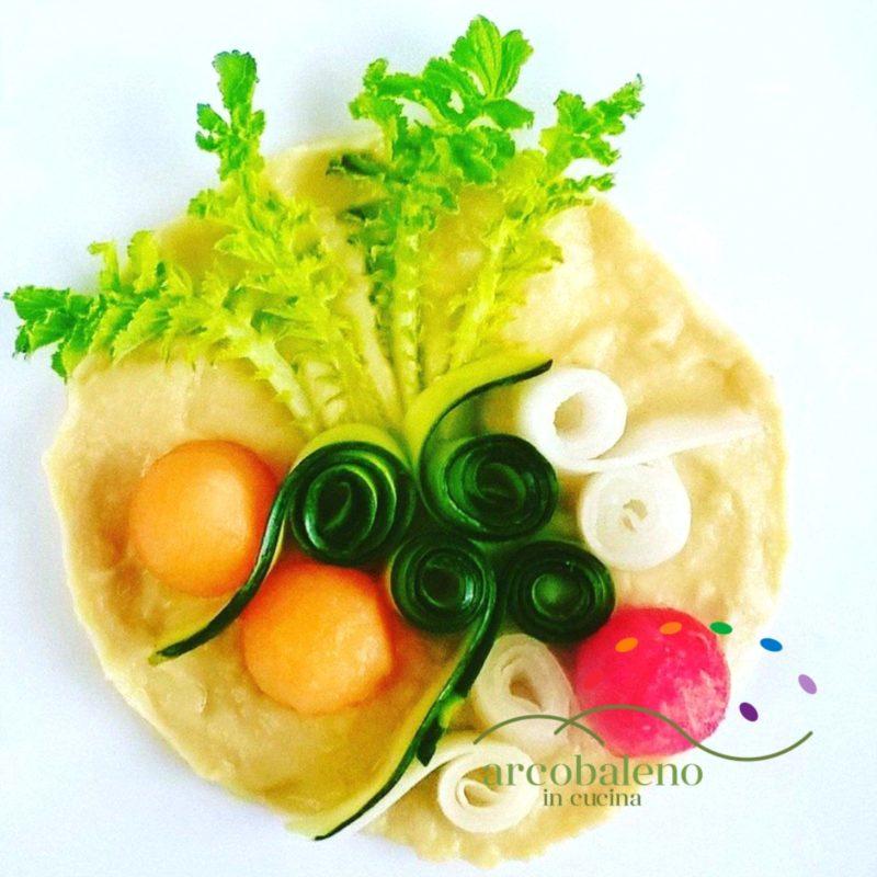 萝卜和西葫芦沙拉配蜜瓜与西瓜