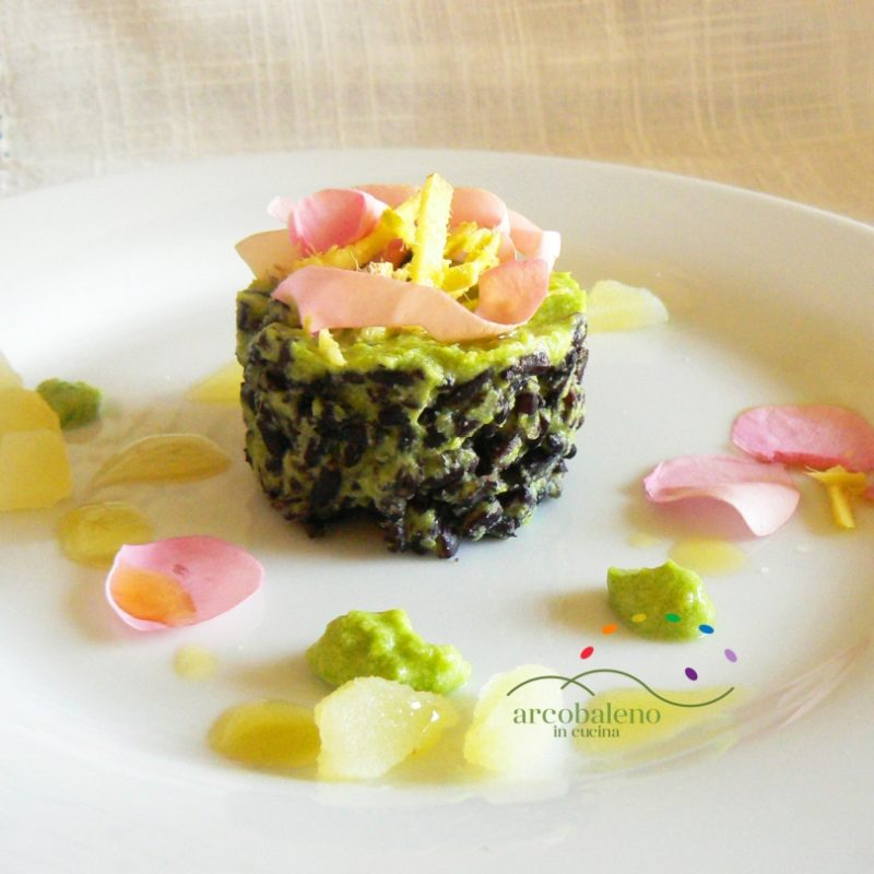 Black Rice with Green Pea Creamy Sauce flavoured with Fresh Ginger