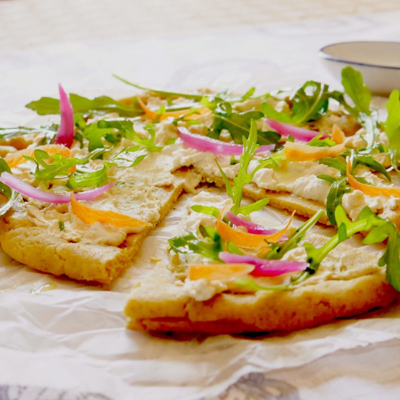 Pizza/Focaccia Gluten free con crema di Tofu e verdure