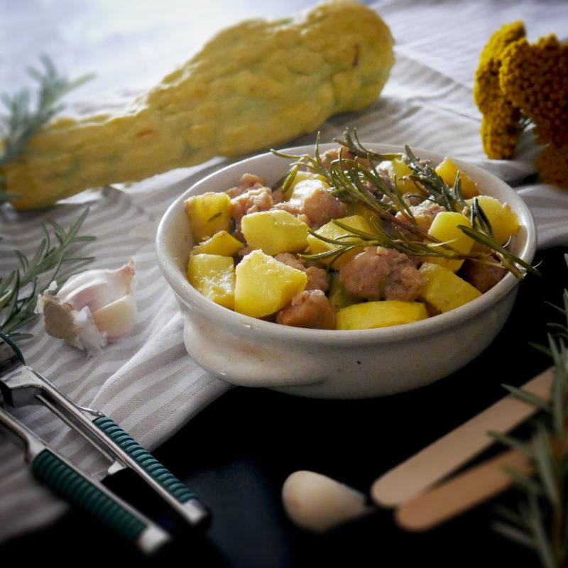 Spadellata di Zucchina Gialla Rugosa con bocconcini di Soia al profumo di Rosmarino