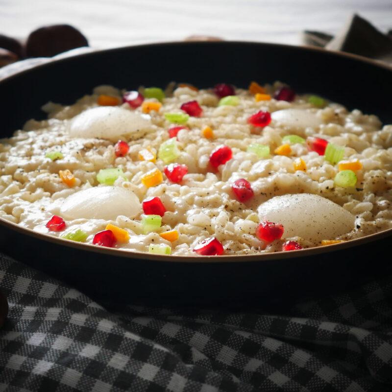Risotto con Castagne, Cipolle Bianche, Pepe e chicchi di Melagrana