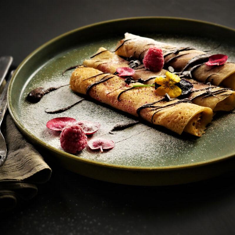 Crêpes farcite con composta di Lamponi e Cioccolato