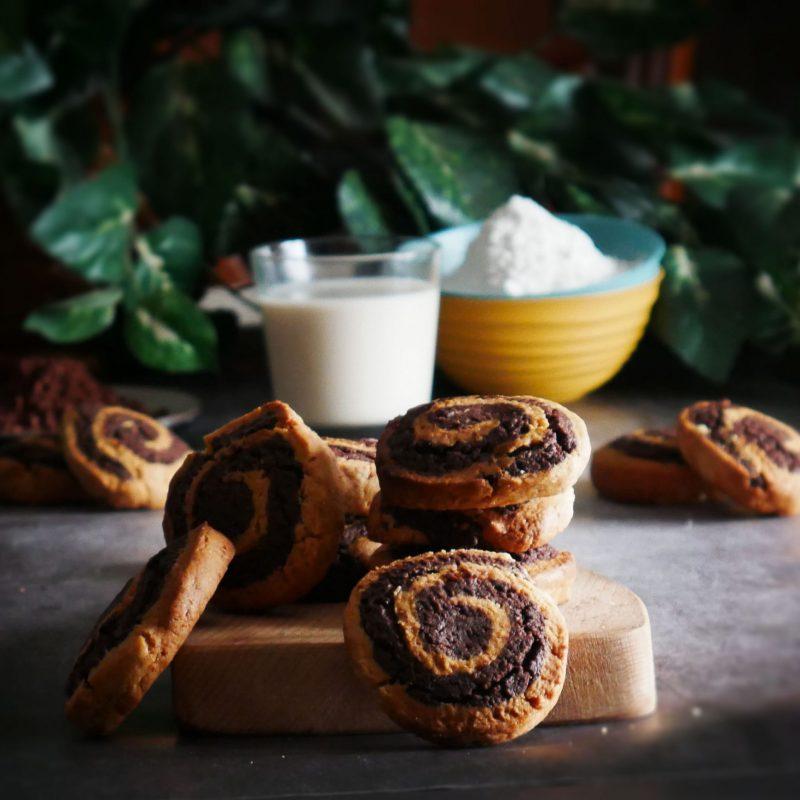 Biscotti a spirale bianco/nero